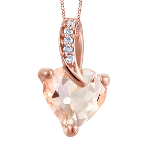 (0.015cttw) RoseGold Pink Morganite and Diamonds