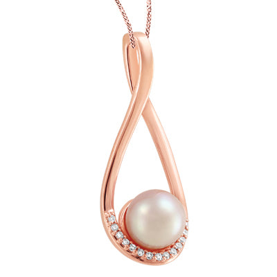 Rosegold Pearl and Diamond Pendant