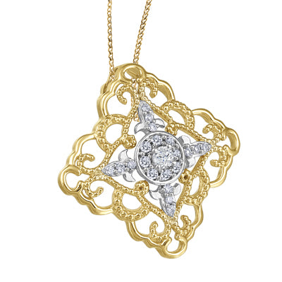 (0.43ct) Whitegold Yellowgold Diamond Necklace