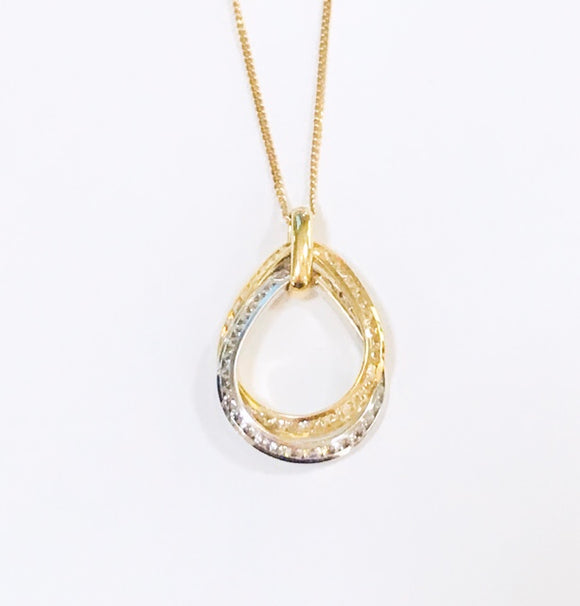 Two-Tone Teardrop Cz Necklace