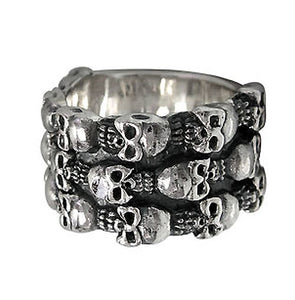 Sterling Silver Wide Skull Band