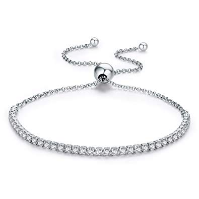 Adjustable Lariat Bracelet with CZ