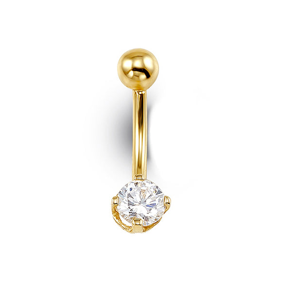 Yellow Gold Belly Button Ring with Cubic Zirconia
