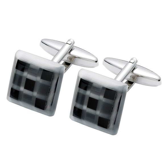 Black Onyx and Fiber Option Glass Cufflinks
