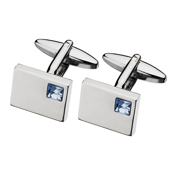 Blue Swarovski  Stainless Steel Cufflinks