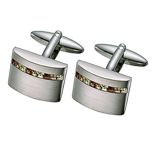 Yellow/Brown Austrian Crystal Cufflinks