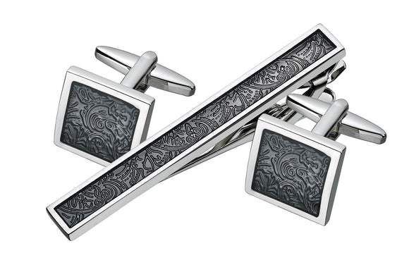 Swirl Design Cufflink and Tie Bar Set