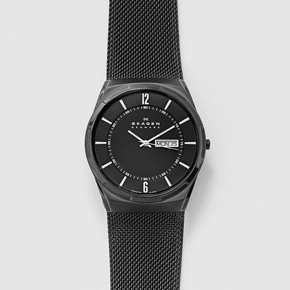 Skagen Melbye Titanium and Black Steel-Mesh Watch