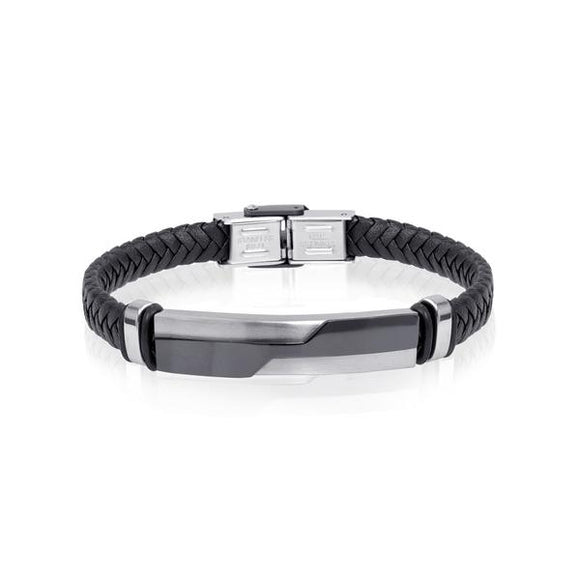 Black and Steel Leather Bracelet
