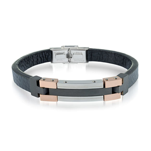 Black and Rosegold Finish ID Bracelet