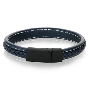 Blue Braided Leather Bracelet
