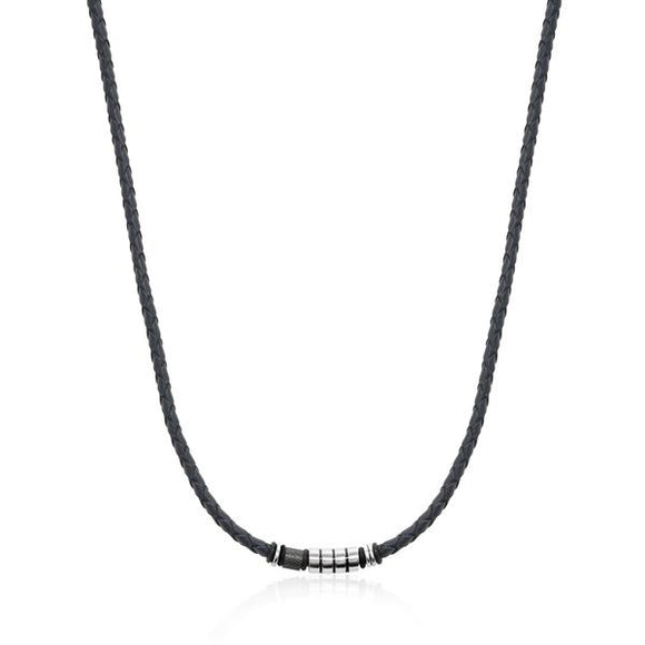Fancy Black Leather Necklace  20