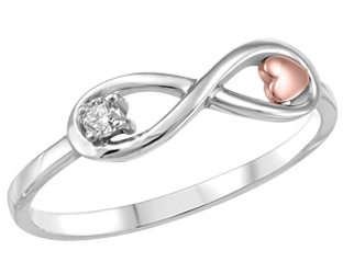 (0.04cttw) Whitegold Infinity Ring with Canadian Diamond