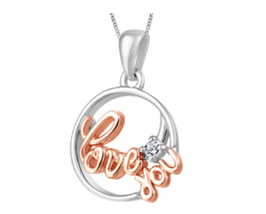 (.025ct)White and Rose Love You Necklace