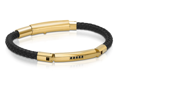 Gold and Black Cz Leather Bracelet