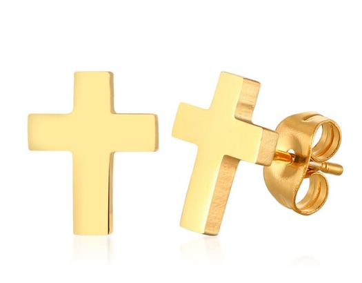 Gold Ip Cross Studs