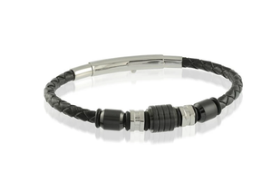 Black White Beads Black Leather Adjustable Bracelet
