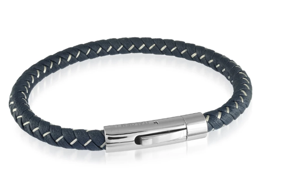 Navy Blue Leather Stainless Steel Wire Braided Bracelet