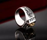 Stainless Steel Skull Ring with Gold Ip