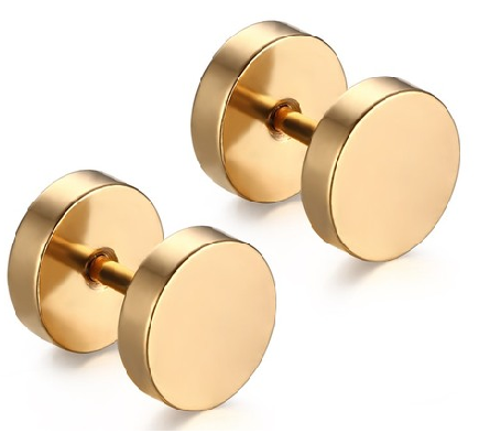 Gold Stainless Steel Studs Tunnel Earring Plugs