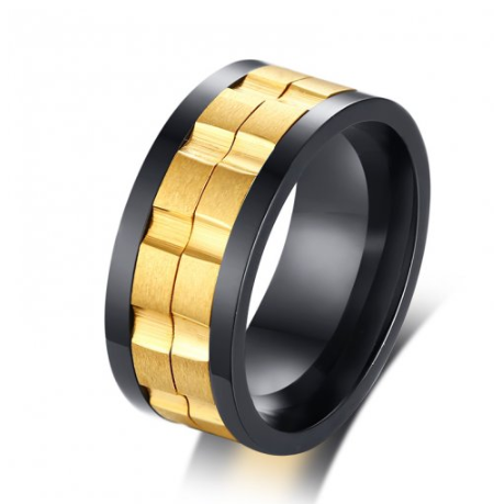 Stainless Steel Black and Gold Ip Spinner Ring