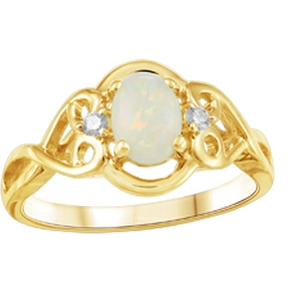 10K Opal and Canadian Diamond Ring