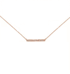 Sterling Silver Rose Finish CZ  Bar Necklace