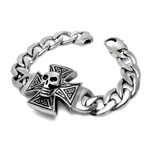 Skull on Iron Cross Bracelet
