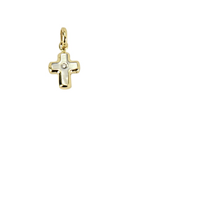 YellowGold Cross With Mother of Pearl