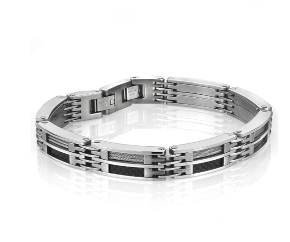 Carbon Fiber and Cable Bracelet