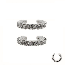 Sterling Silver Cuff with cubic zirconia