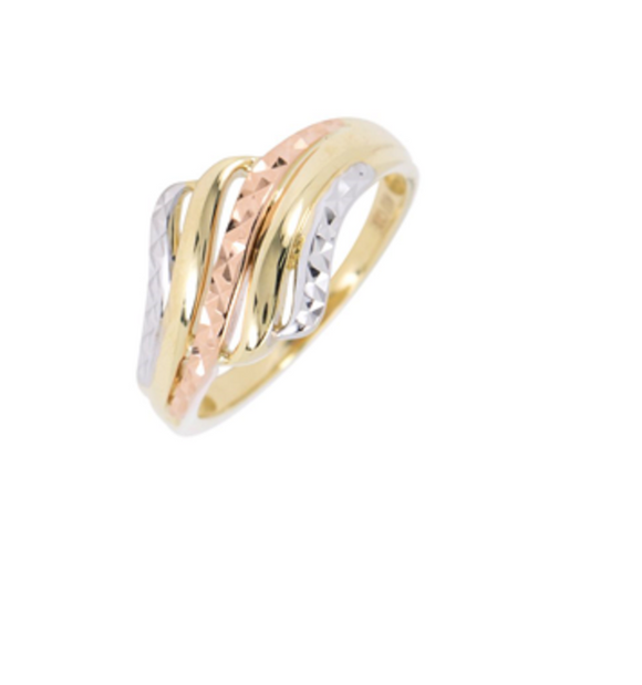 Tri Color Diamond Cut Ladies Ring