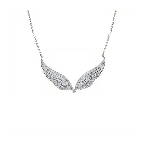 Sterling Silver Angel Wings Necklace  with CZ