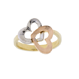 Tri Color Double Heart Ring for Women