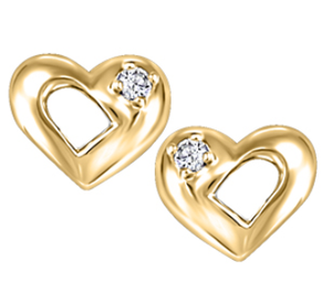 (0.03cttw) Gold Heart Canadian Diamond Studs
