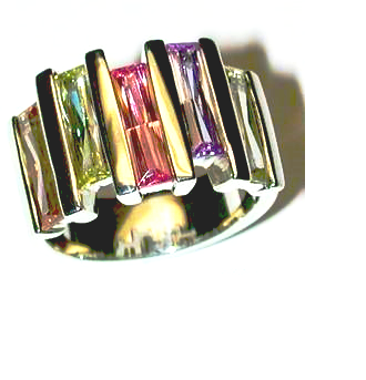 Multi Color Cz Ring