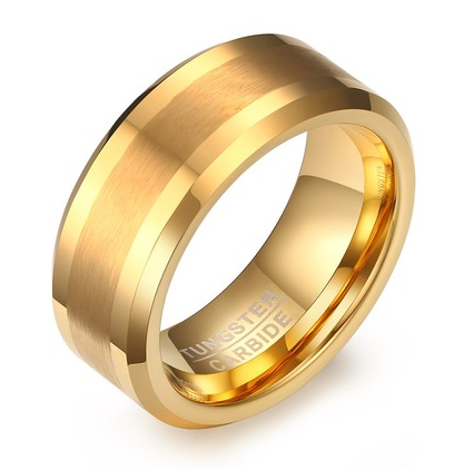 Comfort fit Gold Tungsten Ring with Brushed and Polish Finish