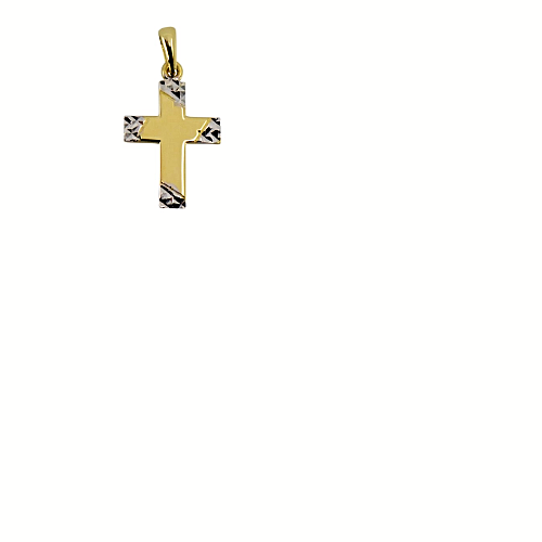 Two Tone Diamond Cut Gold Cross