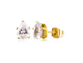 Stainless Steel BirthStone Stud Earrings (April)
