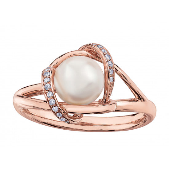 RoseGold Pearl and Diamond Ring