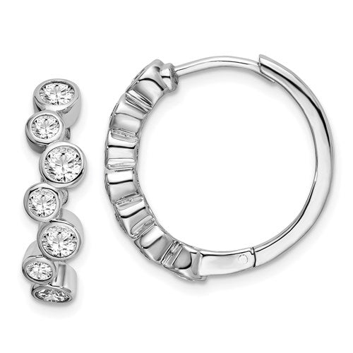 Sterling Silver CZ Bezel Hoop Earrings