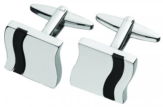 Black Onyx Inlay Engravable Cufflinks
