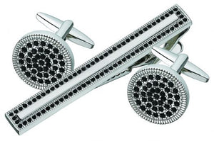 Cufflink and Tie Bar Set with Black Stones