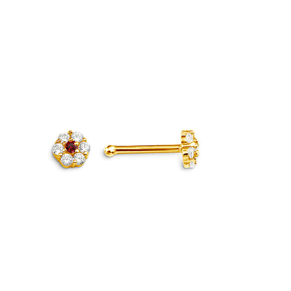 14K Yellow Gold Flower Nose studs with Red Stone