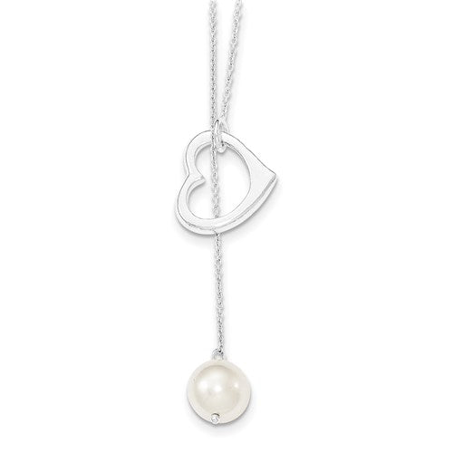 Sterling Silver Pearl Heart Necklace
