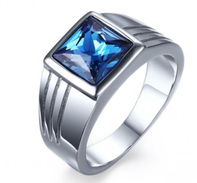 Stainless Steel Blue Cubic Zirconia Ring