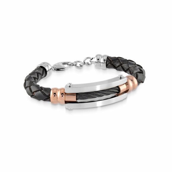 Black Leather with Black Cable Bracelet
