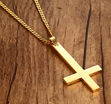 Gold IP Cross Necklace