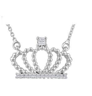 (0.028cttw)Whitegold Crown Necklace