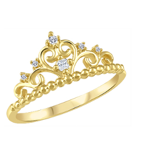 (0.039cttw) Yellow Gold Crown Ring